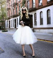 alta falda de soplo de cintura al por mayor-Nuevo Puff Mujeres falda de tul de gasa Midi Lolita Faldas blancas de cintura alta Midi longitud de la rodilla de gasa más tamaño Grunge Jupe faldas de tutú femeninas
