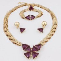 Wholesale triangle pendant lighting - New Style Fashion Jewelry Gold Plated Triangle Pendant Necklace Bracelet Ring Stud Earring Jewelry Sets For Women Free Shipping