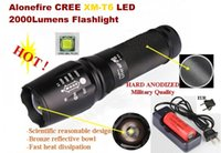 Wholesale Anodized Batteries - USA EU Hot Sell E26 Hard anodized CREE XM-L T6 2000Lumens 5-Mode LED CREE Flashlight T6 Torch + 6800mAh 26650 Battery charger