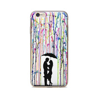 Wholesale Iphone 5c Case Lining - Wholesale For iPhone 4 4S 5 5S 5C 6 6S 6Plus Paint Line Couples An Umbrella Skin TPU Silicone Gel Protective Cover
