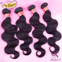 Wholesale Brazilian Remy Hair 5pcs - Brazilian Virgin Human Hair Weave Peruvian Malaysian Indian Cambodian Body Wave Wavy Bundles Natural Black Remy Hair Extensions 3 4 5Pcs Lot
