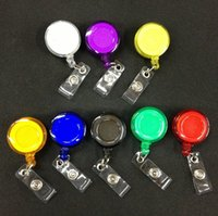 Wholesale Chain Clip Holder - Retractable Badge Holder Plastic Lanyards Translucent Neck Chain ID Card Holder Recoil Reels With Belt Clip Assorted Colors