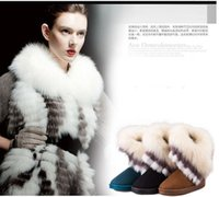 Wholesale Ladies Green Ankle Boots - Wholesale-Winter Fashion Rabbit Fur Ladies Girls Snow Boots Non Slip Thick Sole Flat Womens Ankle Boots Warm Boots