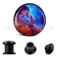 Wholesale Ear Plugs Logos - Black acrylic ear tunnels plugs screw ear stretachers logo piercing body jewelry AE-031