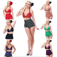 Wholesale Vintage Girls Swimwear - 2016 sexy women swimwear vintage bikini sets girls high waist bikini set Women Bathing Suits Retro Beachwear Plus Size Swimwear in stock