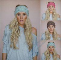 Wholesale Womens Wide Hair Bands - Fashion Womens Adult Lady Crochet Winter Autumn Knit Headbands Warm Hoop Wide Plait Headbands ear warmer Wool Stretch Hair Bands WHA01