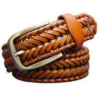 Wholesale Braided Black Belt Men - Genuine leather belt male Braided strap for man Fashion Designer mens belts luxury 2016 High quality girdle for jeans men 120CM