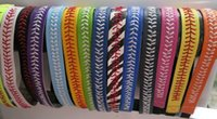 Wholesale Silver Blue Headbands - High quality Real leather yellow fastpitch softball seam headbands Football headband total 25 colors