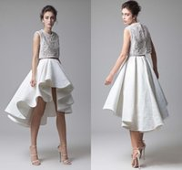 Wholesale Dress Lace Ribbon Piece - Fashion Krikor Jabotian Lace Prom Dresses Beading Bodice Ruched Asymmetrical Skirt Two Piece White Evening Party Dresses High Low Prom Gown