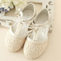 Wholesale Girls Lace Pearl Shoes - Girls Sandals Children Sandals Kids Footwear Girls Shoes 2015 Summer Sandals Casual Lace Princess Shoes Childrens Shoes Kid Girl Shoes C8128