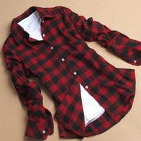 Wholesale Women Checked Shirts - Autumn Winter Hot Plus Size XXL Casual Plaid Shirt Women Lapel Checked Flannel Long Sleeve Blouse Ladies Tops Vetement Femme BZD