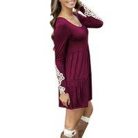 Wholesale Vestidos Crochet - 2015 Spring Autumn Women Casual O Neck High Waist Loose Vestidos Long Sleeve Floral Lace Crochet Mini Dress Plus Size New Brand