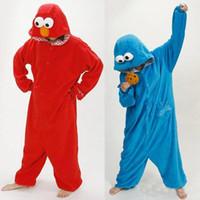 Wholesale Elmo Hoodies - Hot Sale Unisex Onesie Hoodie Long Sleeve Cosplay Pajamas reet Elmo cookie monster Costume Adult romper pajamas costume onesie
