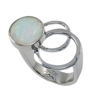 Wholesale Triple circle delicate Japanese opal ring full of imagination Pure handmade sterling silver in awesome design for R6509