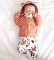 Wholesale Winter Clothings - Retail !GOOD NEWS ! Baby Boy Girl Sweatshirts & white printing orange fox pants suit! Autumn Warm baby clothings,children clothes suit.