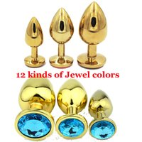 Wholesale Gold Plated Butt Plugs - Size SML Gold Plated Stainless Steel Anal Toy Jeweled Butt Plug Anal Stopper,Booty Beads Sex Products For Adult Game