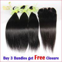 Wholesale Buy Unprocessed Virgin Hair - Buy 3 Get 4! Straight Brazilian Hair Bundles with Free Lace Closure Malaysian Peruvian Indian Cambodian Unprocessed Virgin Human Hair Weaves