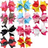Wholesale Bohemian Hair Styles - 11 style barrettes hair accessories 7*8cm Grosgrain ribbon double bowknot hair clips accessories grosgrain with alligator clips