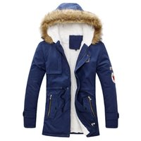 Wholesale Warm Line Jackets - Men's Hooded Faux Fur Lined Warm Coats Outwear Winter Jacket