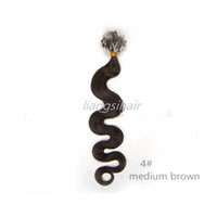 "Wholesale Extension Loops Remy - Brazilian Remy Human Hair Extensions Brazilian micro hair extensions 16""-26"" 40g 50g 70g 100s 4# Medium Brown Body Wave Loop Ring Hair"