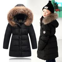 Wholesale T 13 - 2015 Winter Children Down Jackets Girls Large Fur Collar Duck Down & Parkas Girls Long Thicken Down Outerwear &Coats Age 5-13 T