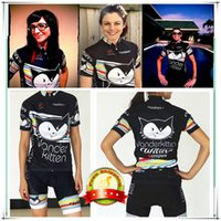Wholesale Bib Shorts Cycling Jersey Woman - Wholesale-vanderkitten cycling jersey women bib shorts 2015 bike cycling clothing maillot ciclismo mtb black cute cat sport suit