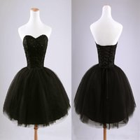 Wholesale Cheap Spring Black Wear - Sexy Cheap Sweetheart Sequins Homecoming Dresses Black Beads Tulle Ball Gown Prom Party Dresses Short Mini Cocktail Dresses 2015