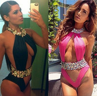 top monokini venda por atacado-Nova Halt Top One Pieces Swimwear Para As Mulheres Sexy Strass / Cristal Swimsuit Maiô Monokini Moda bandage triângulo beachwear