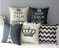ingrosso gettare cuscini corona-Federa per cuscino da tiro in misto lino in cotone decorativo