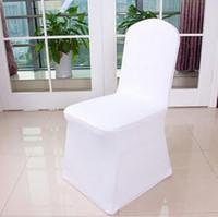 cubiertas de la silla de la boda de spandex blanco universal al por mayor-Envío gratis 50 unids Universal blanco Spandex boda Lycra silla cubiertas para boda banquete Hotel decoración venta caliente venta al por mayor #