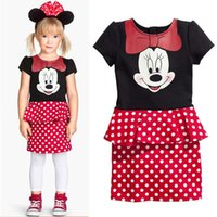 Wholesale Girl Kids Wear Pattern - New Summer Wear Girl Dress Cartoon Peplum Dots Children Dress Clothing Minnie Pattern Dress 2-6 Age Kids Dresses
