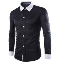 Long Sleeve black singles online - online tops tee mens clothes shirts fashion formal dress long sleeve White black button up slim fit plus size Cotton silk cheap