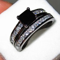 Hot selling Women's 18K Black Gold Filled Black Diamond Sapphire CZ Paved Two-layer Wedding Ring Set