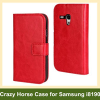 Wholesale Elegant Case S3 - Wholesale Elegant Crazy Horse Pattern PU Leather Wallet Flip Cover Case for Samsung Galaxy SIII S3 Mini i8190 10pcs lot Free Shipping
