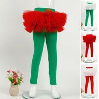 Wholesale Tight Cotton Red Dress - Christmas Kids Girls Lace Dress Pants Babies Spring Autumn Stretchy Leggings 2018 Kids Princess Xmas Clothing