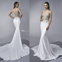 Wholesale Beaded Fit Flare Gown - sexy illusion gorgeous beaded lace embellishments mermaid wedding dresses 2018 Enzoani bridal fit and flare wedding gowns
