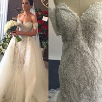 Wholesale Detachable Train Short Lace Wedding - 2016 Lace Bridal Gowns with Detachable Tulle Overskirt and detachable Short Sleeves Beaded Ivory Over Nude Color Wedding Dresses