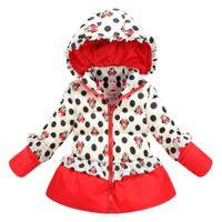 Wholesale Down Coat Europe - Wholesale-fashion new style winter Europe Children's coat girl cartoon mini mouse outwear Cute girls dot down hooded free shipping