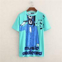 Wholesale Shirt Men Music - Summer Personalized Brand Letter Print gun T Shirts Short Sleeve Music addicted T-shirt Man Top Tee Shirt masculinas