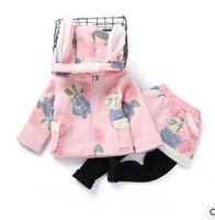 Wholesale Girls Leggings Zipper - Kids outfits girls Bunny ears floral printed coats double-pockets zipper up coat+dress leggings 2pcs sets Winter girls princess suits G1572