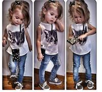Wholesale Cute Girls Clothings - 2015 New Arrivals high quality Girl children Cute cat cowboy suit T shirt+Denim long pants 2 piece suits Kids clothings C001