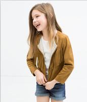 Wholesale Wholesale Metallic Tassel - Baby Girls Cotton Tassels Jackets Kids Girl Fall Winter Zipper Cardigan 2016 Girl Fashion Top Babies children clothes