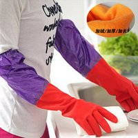 Wholesale Cotton Cleaning Gloves - Waterproof Household Protect hands Glove Warm Dishwashing Glove Water Dust Stop Laundry kitchen Cleaning Rubber Glove