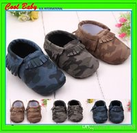 Wholesale Baby Leopard Bows - Fashion Leopard Camouflage PU Newborn Baby First Walkers Moccasins Soft Moccs Baby bow Prewalker booties Tassels Leather Kids Shoes,XRW051