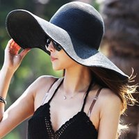 grandes y elegantes sombreros de paja al por mayor-Venta al por mayor-Nuevo 2015 Summer Women Plegable Wide Large Brim Beach Sun Hat Cap Beach Straw para damas elegantes sombreros Girls Vacation Tour Hat