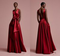 Wholesale Flower Vintage Fabric - 2018 New Red Burgundy Color Prom Dress Sleeveless Cheap Vestidos De Festa Floor Length Party Gowns Satin Fabric Evening Dresses With Bow
