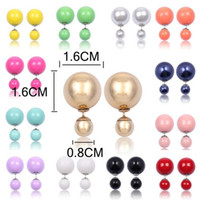 Wholesale Mothers Side - New Crystal Fashion Paragraph Hot Selling Cute Earrings Double Side Shining Pearl Stud Earrings Big Pearl Earrings For Women