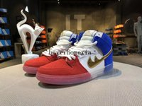 2017 Dunk High Premium SB Tricolore Bandiera francese Sneakers per uomo e donna Sfida Red Metallic Gold-Game Scarpa Royal-White in vendita