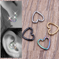 Wholesale Labret Hoop Jewelry - 40pcs lot Mixed 4 Colors Ear Cartilage Earrings Piercing Heart Labret Rings Lip Hoop Nose Rings Body Jewelry