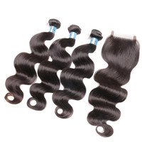 Wholesale Cheap Chinese Body Wave Hair - Cheap 6A Virgin Brazilian Body Wave Hair With Closure Bleached Knots 100% Peruvian Malaysian Indian Human Virgin Hair Bundles With Closure